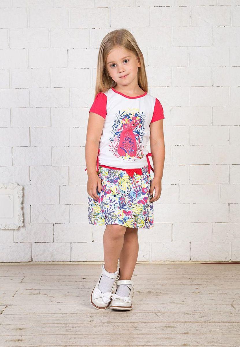 Футболка для девочки Elaria, цвет: белый. ESg-10-1. Размер 116ESg-10-1
