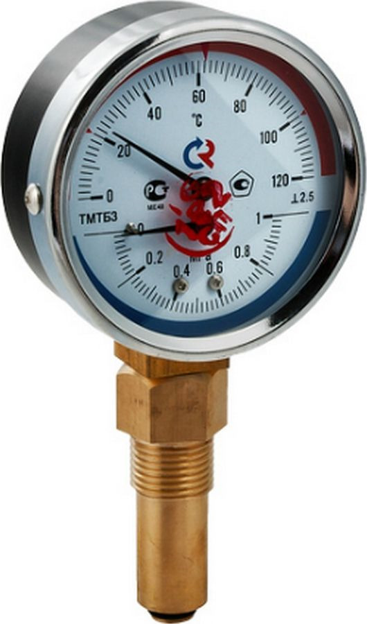 Термоманометр сантехнический Valtec ТМТБ-31P Дy 80, с нижним подключением 1/2, 10 бар 0-150* термометр сантехнический valtec бt 30 dy63 накладной 0 150