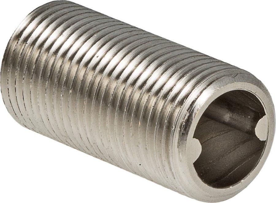 Фитинг сантехнический Valtec Ниппель под сгонный ключ 1/2 нар.VTr.651.N.0004Данный резьбовой фитинг разработан для соединения трубопроводной арматуры в случаях, когда условия монтажа не позволяют использовать обычный ниппель, монтируемый с помощью рожкового ключа. После выполнения соединения ниппели под сгонный ключ полностью скрыты в муфтовых патрубках арматуры и не занимают монтажного пространства. Материал фитинга – латунь марки CW614N.