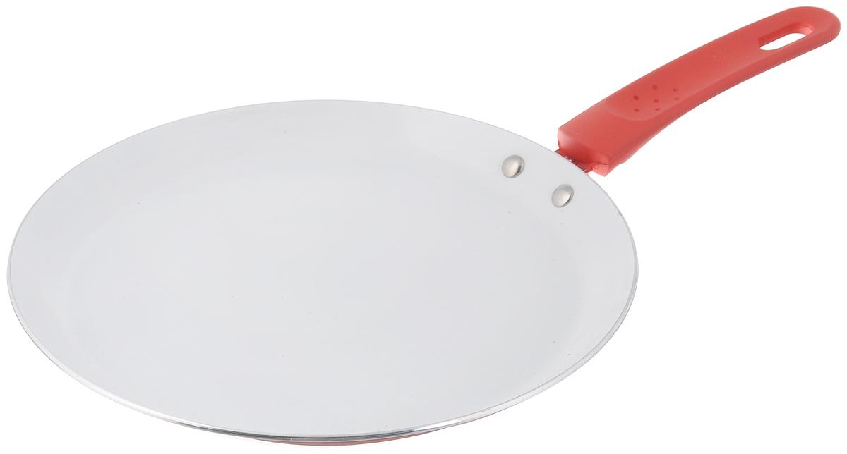 Сковорода блинная Добрыня, с керамическим покрытием, цвет: красный. Диаметр 22 см сковорода блинная добрыня с керамическим покрытием цвет зеленый диаметр 24 см do 5015