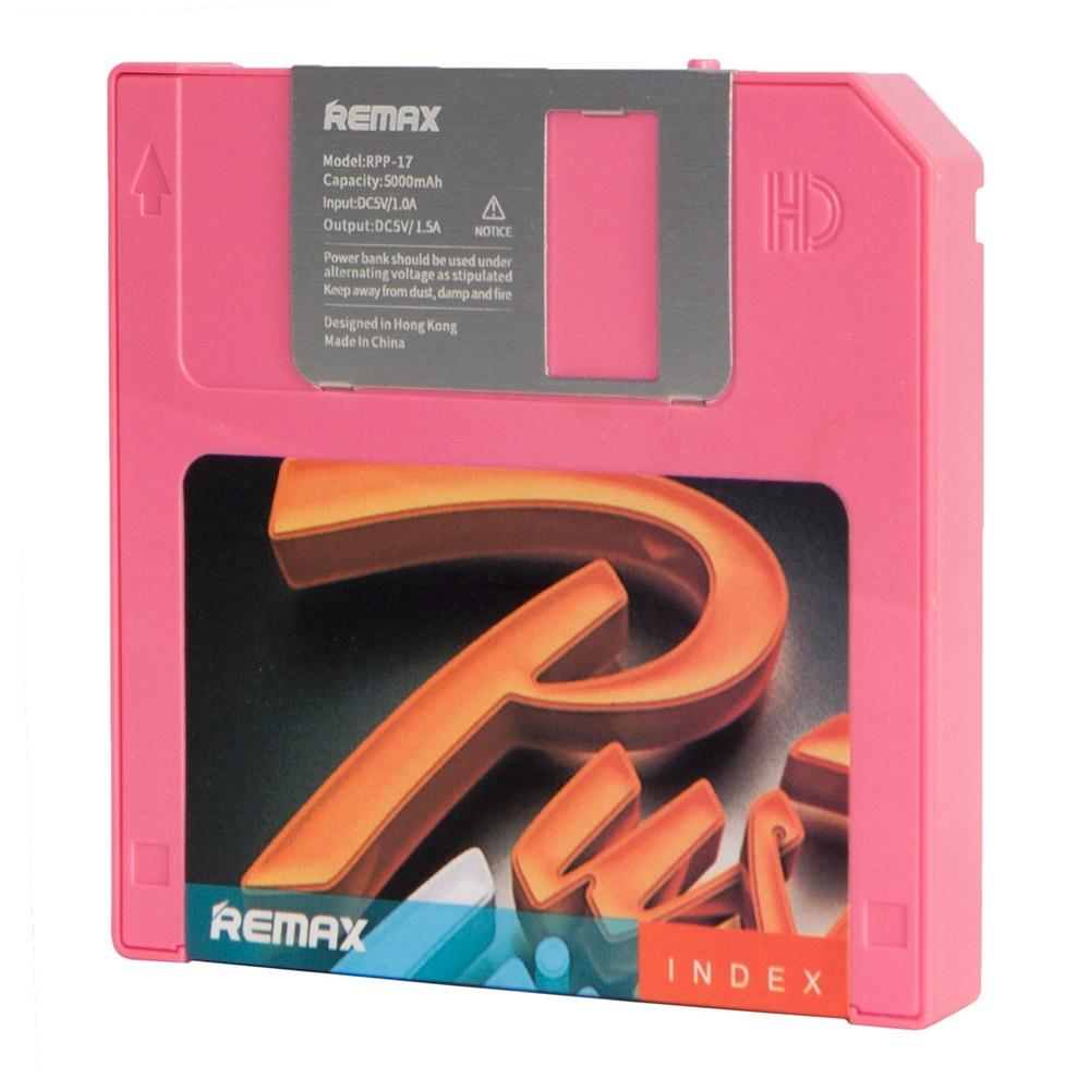 Внешний аккумулятор Remax Power Bank Disk 5000 mAh, розовый remax аккумулятор remax disk 5000 мач голубой портативный