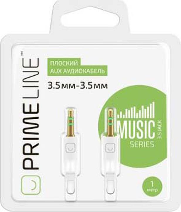 AUX аудиокабель Prime Line, 3.5-3.5 мм, 1 м, белый цена
