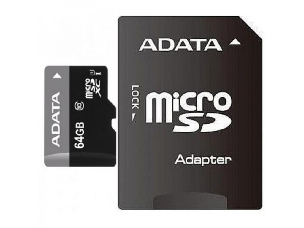 Карта памяти A-Data MicroSD 64GB Class 10 Premier UHS-I (40/15 Mb/s) + SD адаптер