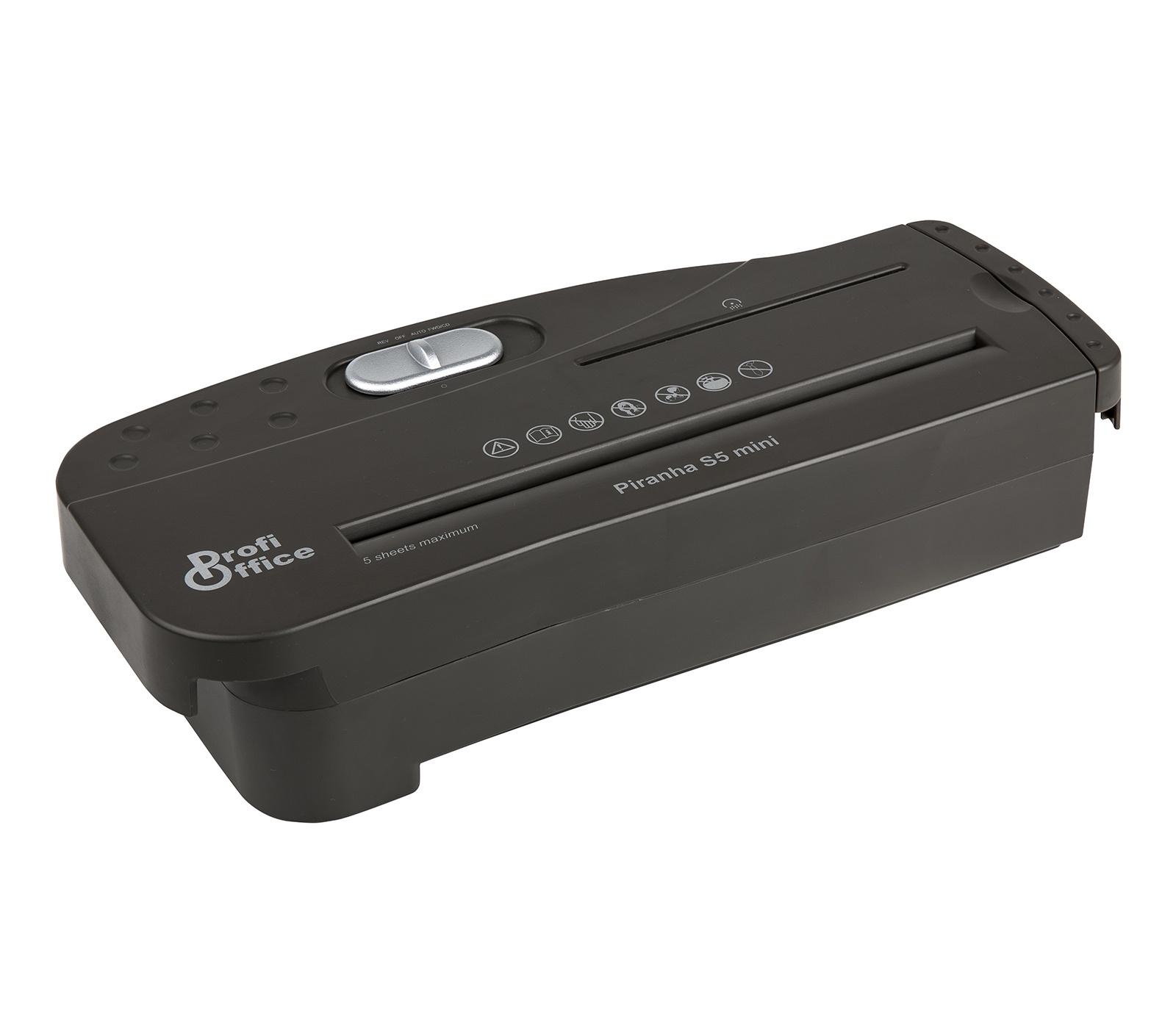 Шредер ProfiOffice, Piranha S5Mini, 6мм, 5листов, для офисной корзины
