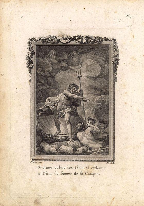 Гравюра Дени Ни Метаморфозы. Бог Нептун успокаивает волны и приказывает Тритону трубить в свою раковину. Офорт, резцовая гравюра. Франция, Париж, 1767 год будни и мечты гравюра автор майо франция 1977 год