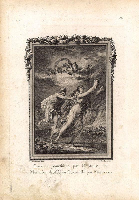 Гравюра Жан Леруа Метаморфозы. Коронида, дочь царя Фокиды, преследуемая влюблённым в неё богом Нептуном (Посейдоном), превращается богиней Минервой в ворону. Офорт, резцовая гравюра. Франция, Париж, 1767 год садовая мебель в леруа мерлен краснодар