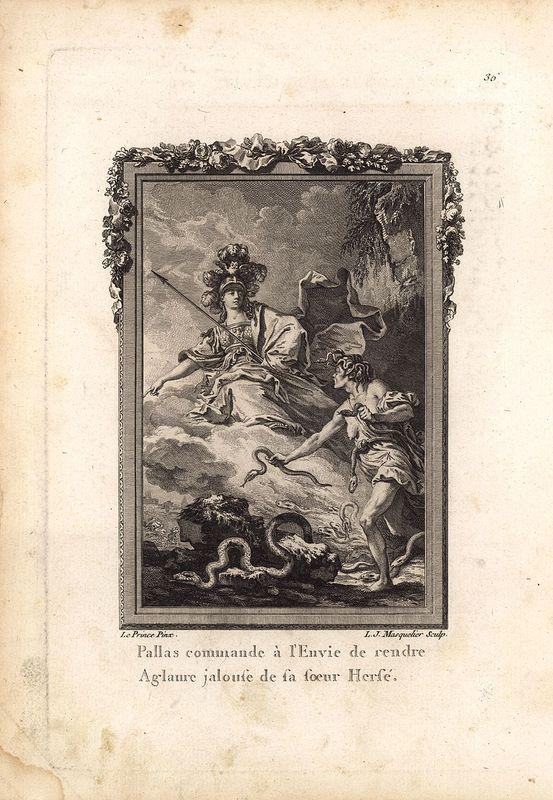 Фото - Гравюра Луи Маскольи Метаморфозы. Афина Паллада просит Зависть заставить Аглавру завидовать сестре Герсе, в которую влюбился бог Меркурий (Гермес). Офорт, резцовая гравюра. Франция, Париж, 1767 год jean paul gaultier le male