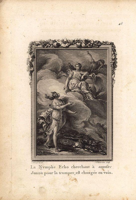 Гравюра Жан Франсуа Руссо Метаморфозы. Нимфа Эхо за болтливость лишилась собственного голоса по воле богини Юноны (Геры) и с тех пор не могла ничинать разговор первой. Офорт, резцовая гравюра. Франция, Париж, 1767 год недорого
