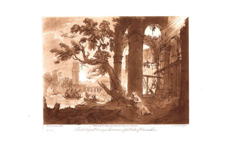 Гравюра Ричард Ирлом Лист 32. Искушение святого Антония. Офорт, меццо-тинто. Англия, Лондон, 1774 год sergei daniel le lorrain