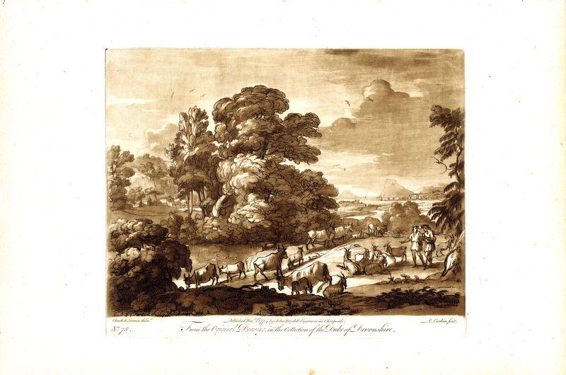 Гравюра Ричард Ирлом Лист 75. Стадо на водопое. Офорт, меццо-тинто. Англия, Лондон, 1774 год sergei daniel le lorrain