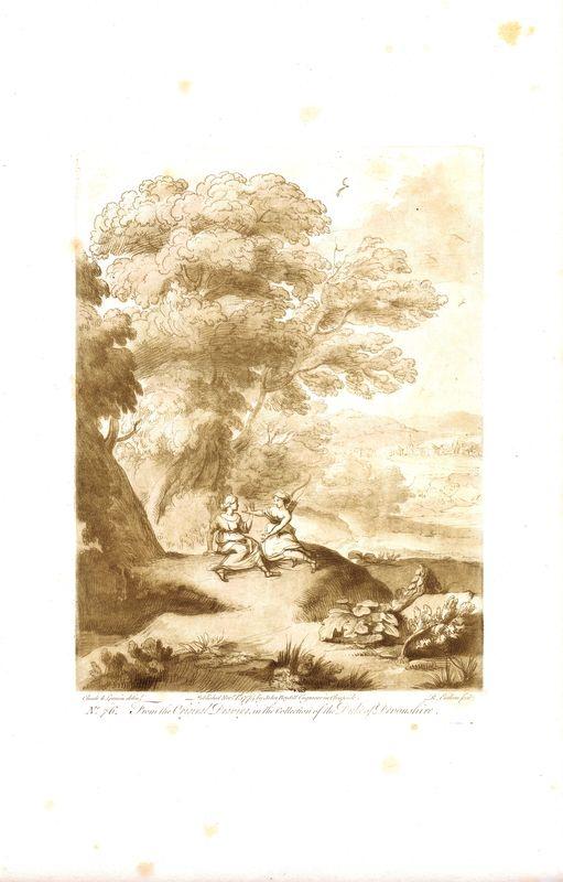 Гравюра Ричард Ирлом Лист 76. Пейзаж с фигурами. Офорт, меццо-тинто. Англия, Лондон, доска 1774 (оттиск 1809) год донингтон парк резиденция графа мойры лестершир donington park seat of the earl of moira leicestershire гравюра офорт великобритания 1809 год