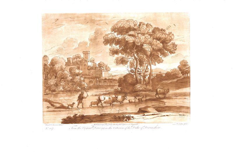 Гравюра Ричард Ирлом Лист 107. Пасторальный пейзаж. Офорт, меццо-тинто. Англия, Лондон, 1775 год sergei daniel le lorrain