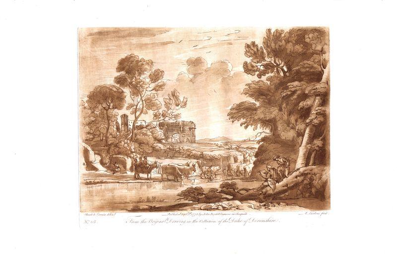 Гравюра Ричард Ирлом Лист 115. Художник и пастух. Офорт, меццо-тинто. Англия, Лондон, 1775 год