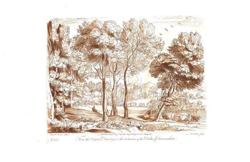Гравюра Ричард Ирлом Лист 118. Пастух и стадо. Офорт, меццо-тинто. Англия, Лондон, 1775 год sergei daniel le lorrain