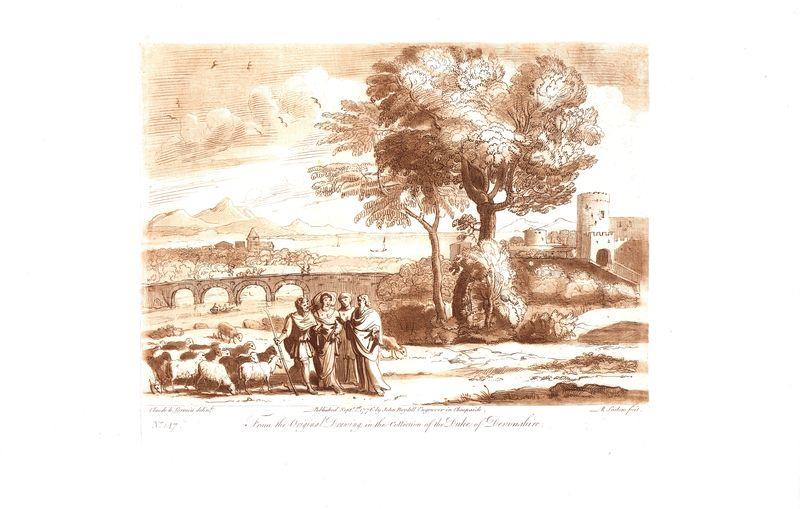 Гравюра Ричард Ирлом Лист 147. Беседа с пастухом. Офорт, меццо-тинто. Англия, Лондон, 1776 год sergei daniel le lorrain