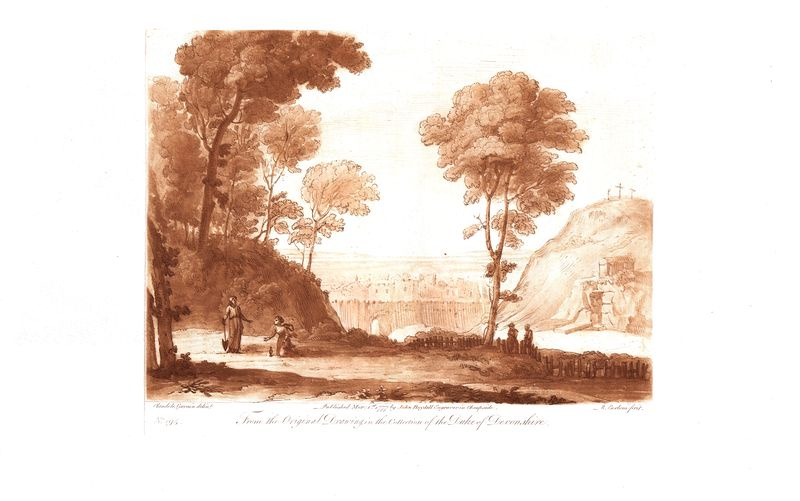 Гравюра Ричард Ирлом Лист 194. Пейзаж. Офорт, меццо-тинто. Англия, Лондон, 1777 год sergei daniel le lorrain