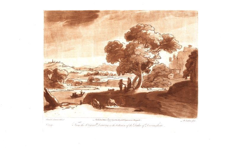 Гравюра Ричард Ирлом Лист 199. Речной пейзаж. Офорт, меццо-тинто. Англия, Лондон, 1777 год sergei daniel le lorrain