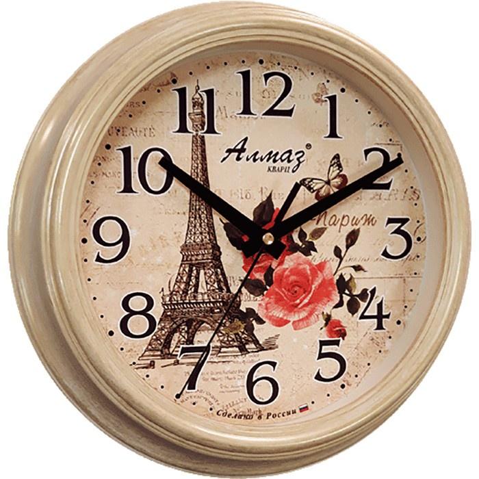 """Настенные часы Алмаз C23, бежевыйC23Настенные кварцевые часы """"Алмаз"""" прекрасное дополнение вашего интерьера. Часы изготовлены из качественного пластика, циферблат защищен прочным стеклом. Часы имеют бесшумный плавный ход и работают от одной батарейки типа АА."""
