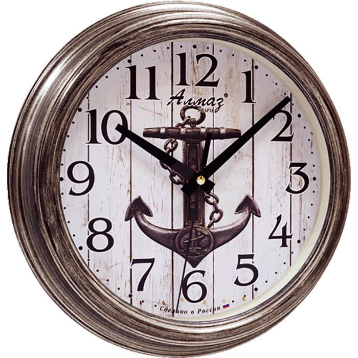 """Настенные часы Алмаз C44C44Настенные кварцевые часы """"Алмаз"""" прекрасное дополнение вашего интерьера. Часы изготовлены из качественного пластика, циферблат защищен прочным стеклом. Часы имеют бесшумный плавный ход и работают от одной батарейки типа АА."""