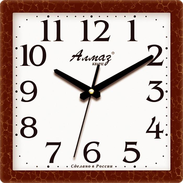 """Настенные часы Алмаз M12M12Настенные кварцевые часы """"Алмаз"""" прекрасное дополнение вашего интерьера. Часы изготовлены из качественного пластика, циферблат защищен прочным стеклом. Часы имеют бесшумный плавный ход и работают от одной батарейки типа АА."""