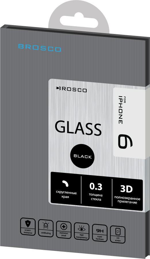 Защитное стекло Brosco 3D для Apple iPhone 6, черный цена и фото