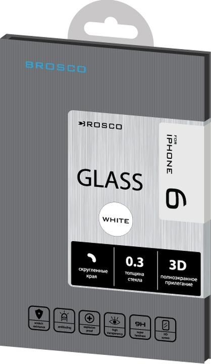Защитное стекло Brosco 3D для Apple iPhone 6, белый цена и фото
