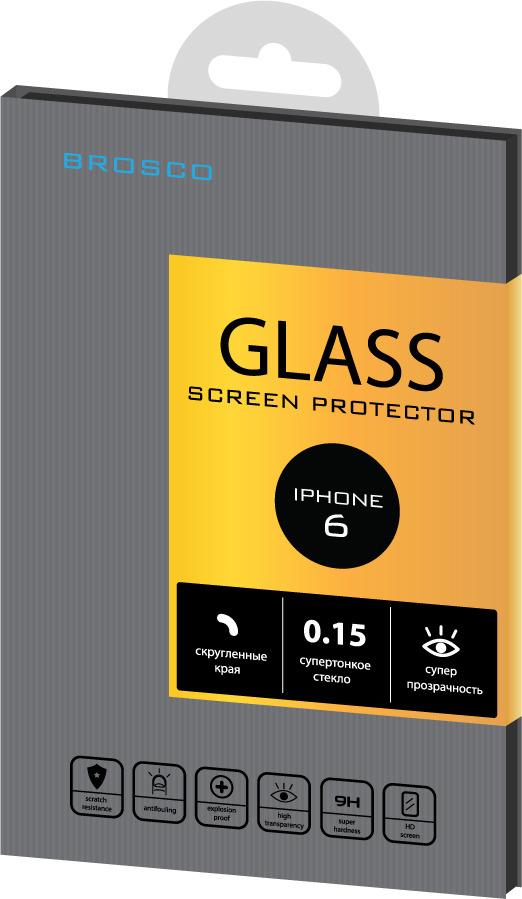 Защитное стекло Brosco Superslim для Apple iPhone 6 чехол для сотового телефона brosco superslim для iphone 6 plus ip6p pp superslim blue голубой