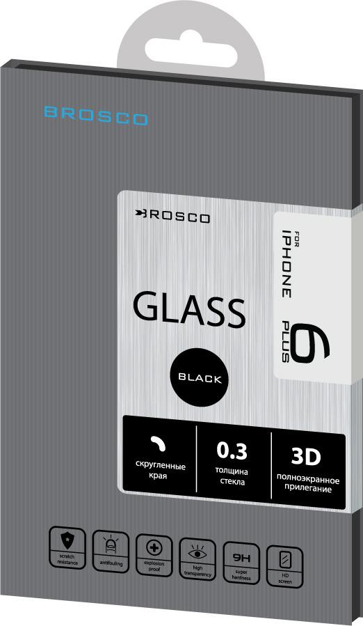 Защитное стекло Brosco 3D для Apple iPhone 6 Plus, черный защитное стекло для iphone 6 plus onext 3d изогнутое по форме дисплея с прозрачной рамкой