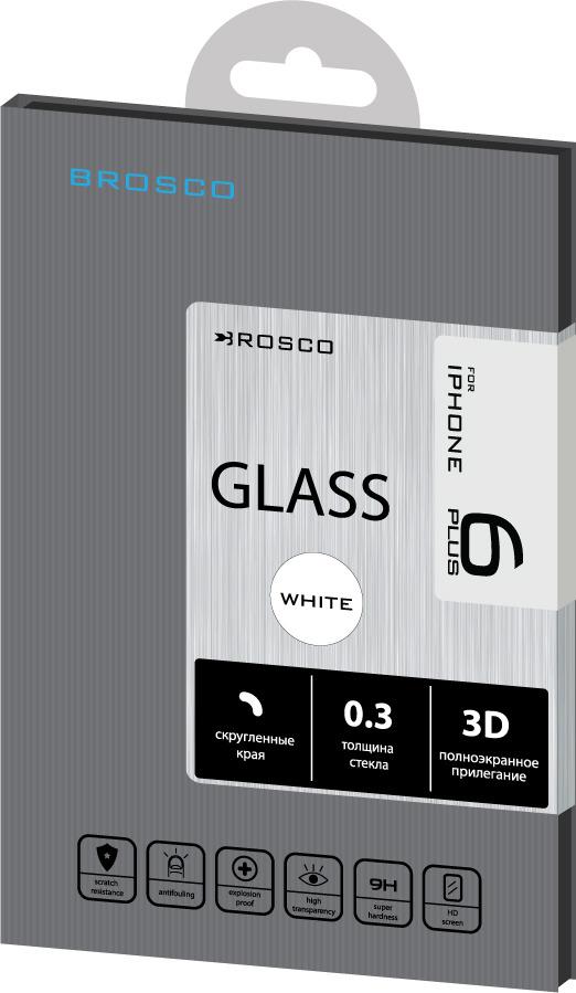 Защитное стекло Brosco 3D для Apple iPhone 6 Plus, белый защитное стекло для iphone 6 plus onext 3d изогнутое по форме дисплея с прозрачной рамкой
