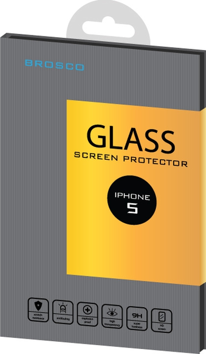 Защитное стекло Brosco для Apple iPhone 5, прозрачный noname защитное стекло noname 0 33мм для apple iphone 5 прозрачное