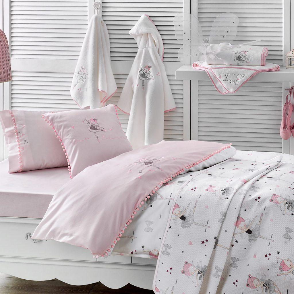 Комплект в кроватку Tivolyo home MISS BALERINA, розовый, розовый, белый