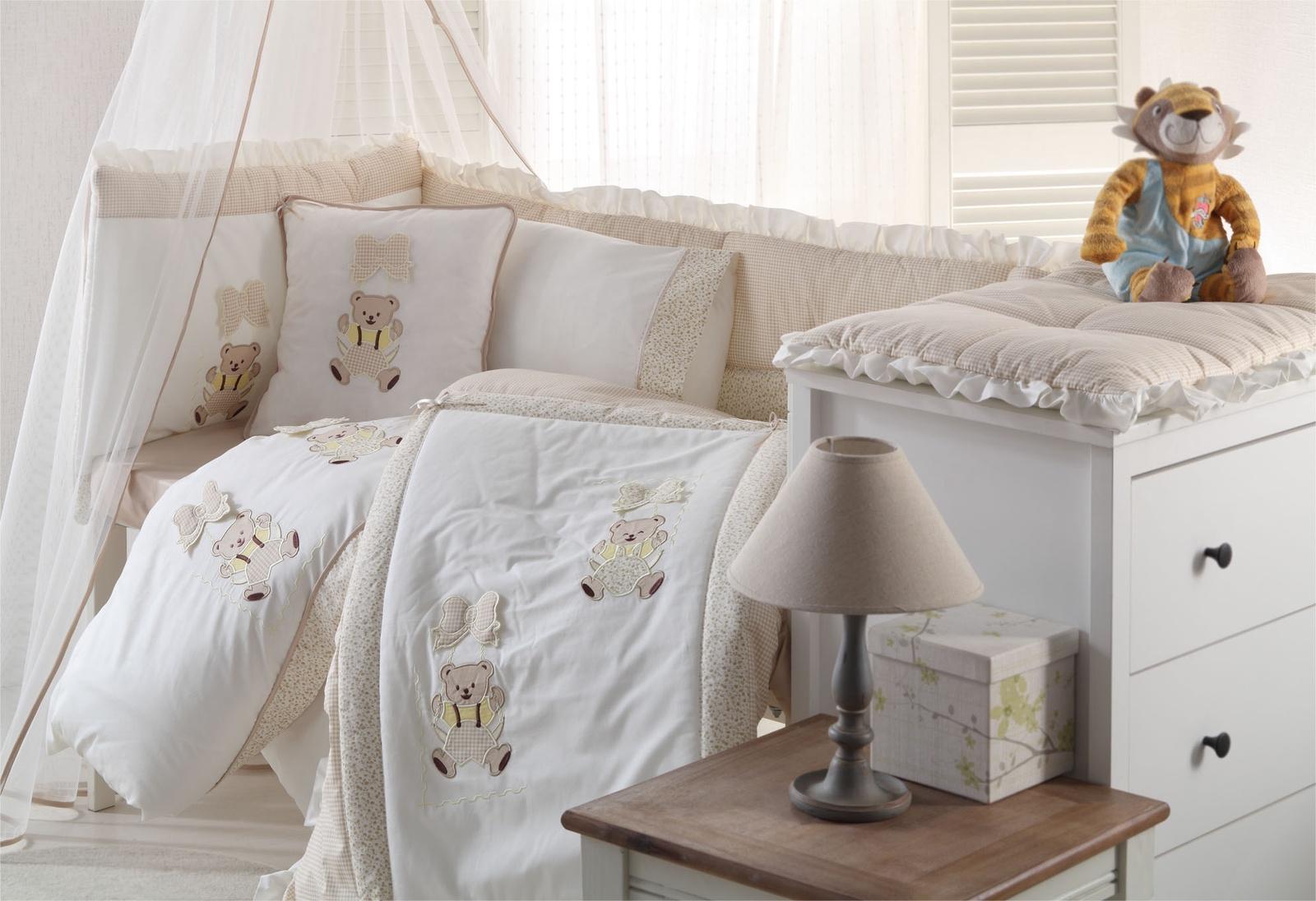 Комплект белья для новорожденных Gelin home BEBE, бежевый, бежевый, белый