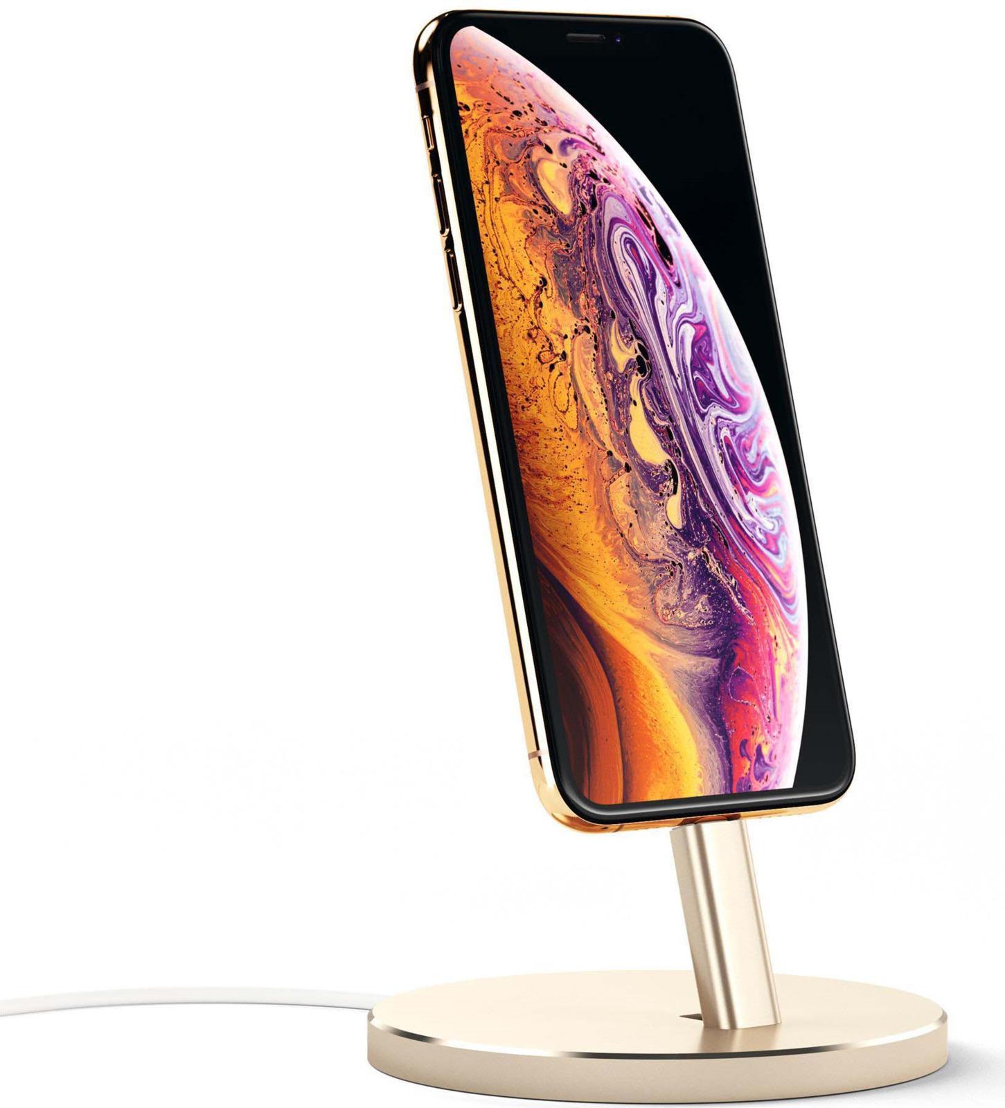 Док-станция Satechi Aluminum Desktop Charging Stand для iPhone с Lightning разъемом, ST-AIPDG, золотой satechi aluminum wireless grey st ahpm