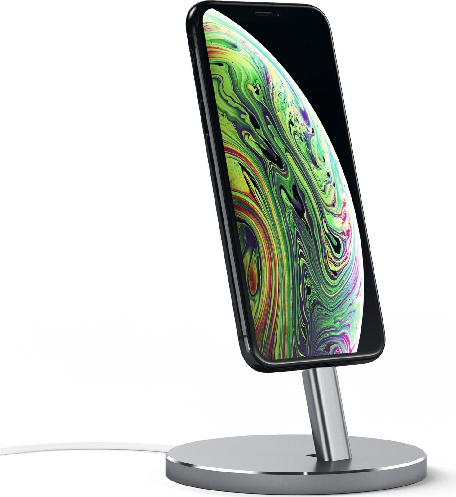 Док-станция Satechi Aluminum Desktop Charging Stand для iPhone с Lightning разъемом, ST-AIPDM, серый satechi aluminum wireless grey st ahpm