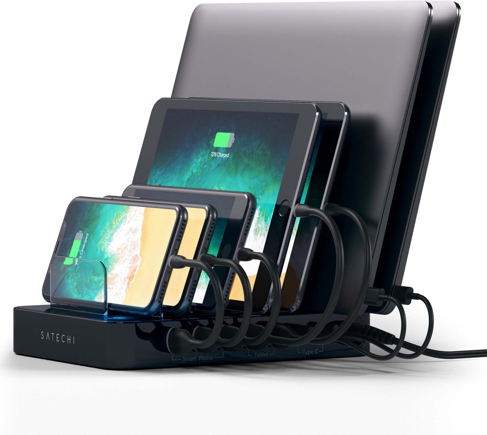 Зарядная док-станция Satechi 7-Port USB Charging Station Dock, ST-MCSTC7B, черный ikki mini charging dock w data charging cable for lg nexus 5