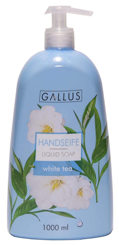 Жидкое мыло Gallus Белый чай4251415300544Жидкое мыло Gallus (белый чай) 1000 мл с дозатором – это очень мягкое средство для ухода за руками и телом, сделанное на основе только натуральных компонентов, имеет приятный и нежный аромат, деликатно очищает кожу, не разрушая ее защитный слой. Входящие в состав жидкого мыла растительные добавки обладают антимикробным действием, которые способствуют заживлению микротравм, улучшают микроциркуляцию, а также тонус кожи рук и обменные процессы. Удобный дозатор позволяет экономично использовать средство. Жидкое мыло Gallus не вызывает аллергических реакций, и абсолютно безопасно для здоровья. Качество и безопасность средства подтверждено клиническими исследованиями в ЕС.