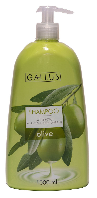 Шампунь для волос Gallus содержит кератин, аллантоин и витамин B3 Оливковый шампунь аллантоин