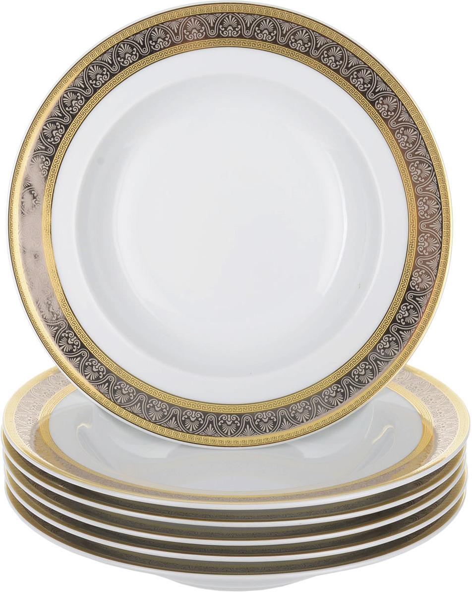 Тарелка глубокая Thun 1794 a.s. Широкий кант платина, золото Опал, БТФ0469, диаметр 22 см, 6 шт