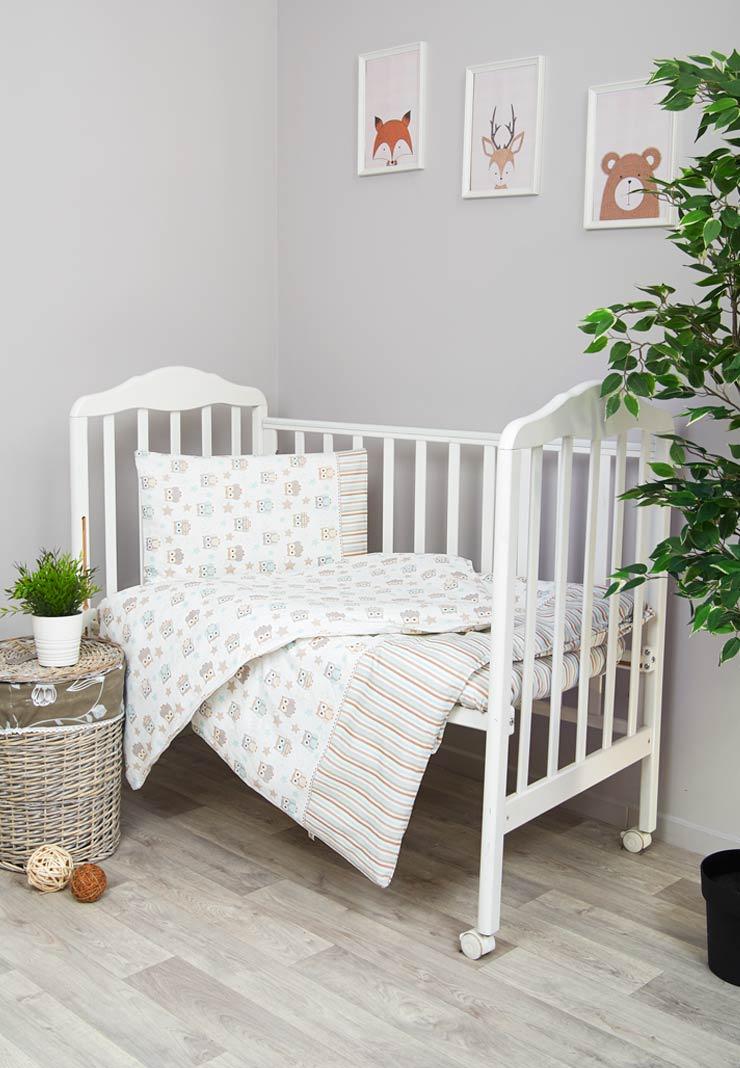 Комплект белья для новорожденных Сонный гномик Софушки, белый, бежевый