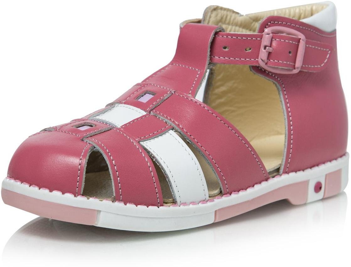 Сандалии для девочки Таши Орто, цвет: розовый, белый. 433-04. Размер 30433-04Стильные детские сандалии Таши Орто заинтересуют вашу маленькую модницу с первого взгляда. Модель выполнена из натуральной кожи контрастных цветов. Ремешок на застежке-пряжке, которая не ослабевает в процессе носки, помогает оптимально подогнать полноту обуви по ноге и гарантирует надежную фиксацию. Литая анатомическая стелька из натуральной кожи со сводоподдерживающим элементом и латексным покрытием, не продавливающаяся во время носки, обеспечивает правильное формирование стопы. Благодаря использованию современных внутренних материалов позволяет оптимально распределить нагрузку по всей площади стопы, дает ножке ощущение мягкости и комфорта. Полужесткий задник фиксирует ножку ребенка, не давая ей смещаться из стороны в сторону и назад. Мягкая верхняя часть, которая плотно прилегает к ножке, и подкладка, изготовленная из натуральной кожи, позволяют избежать натирания. Широкий, устойчивый каблук, специальной конфигурации каблук Томаса, продлен с внутренней стороны до середины стопы, чтобы исключить вращение (заваливание) стопы вовнутрь. Эластичная подошва с рельефным протектором, позволяющая сгибаться стопе при ходьбе или беге в 1/3 стопы, а не по середине, предназначена для правильного распределения нагрузки на опорно-двигательный аппарат ребенка.