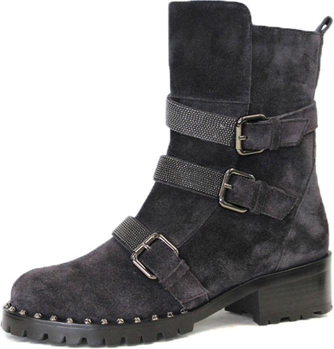 e7902d885 Женские ботинки от Graciana на устойчивом каблуке выполнены из натурального  спилка. Модель оформлена тремя декоративными ремешками с пряжками.