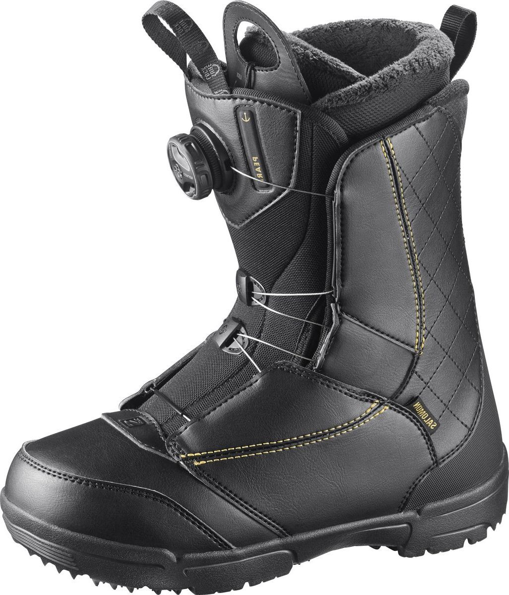 Ботинки для сноуборда Salomon Pearl Boa, цвет: черный, золотистый. Размер 25 (38) ботинки для сноуборда мужские salomon dialogue цвет черный размер 42
