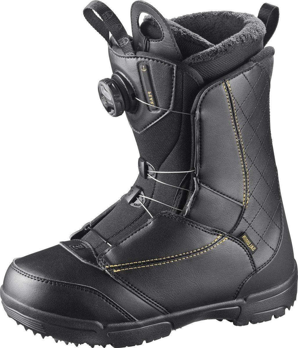Ботинки для сноуборда Salomon Pearl Boa, цвет: черный, золотистый. Размер 25,5 (39) ботинки для сноуборда мужские salomon dialogue цвет черный размер 42