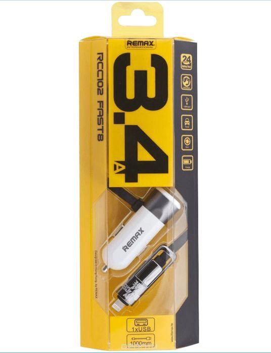 Автомобильное зарядное устройство Remax RC-C02 3.4A + кабель Lightning, золотой