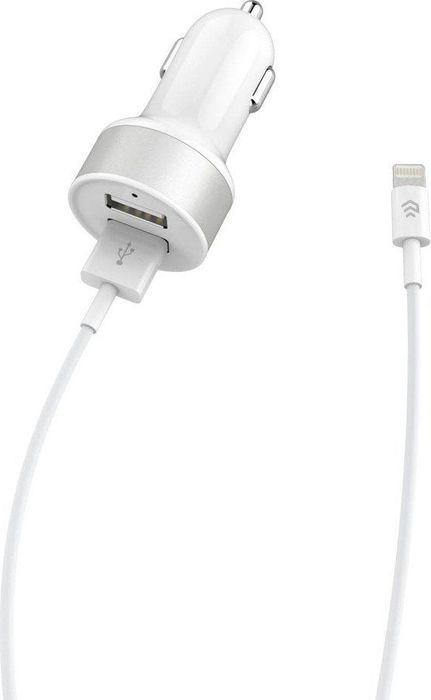 Набор: автомобильное зарядное устройство Devia, на 2 USB порта Smart Dual USB Car charger + кабель для Apple Lightning с сертифицированным чипом MFi 2.4A, 1 м автомобильное зарядное устройство devia smart dual кабель type c white