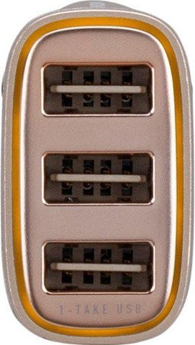 Автомобильное зарядное устройство Momax Polar Light Series Car Charger 4.4A, золотой азу devia swift drive car charger 3usb qc3 0 black