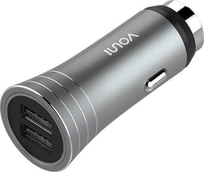 Автомобильное зарядное устройство Vouni Soldier Dual USB Car Charger, серый cellular line car charger dual ultra автомобильное зарядное устройство 20326