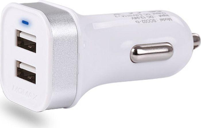 Автомобильное зарядное устройство Vouni Sprint Dual USB Car Charger, белый автомобильное зарядное устройство lab c car charger 2 4а 4 x usb розовый labc 584 rg