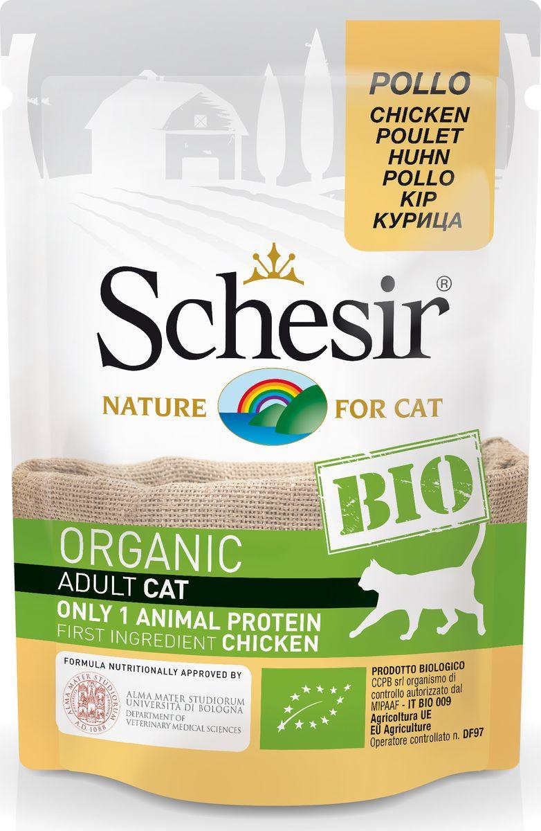 Корм консервированный Schesir Bio, для кошек, курица, 85 г