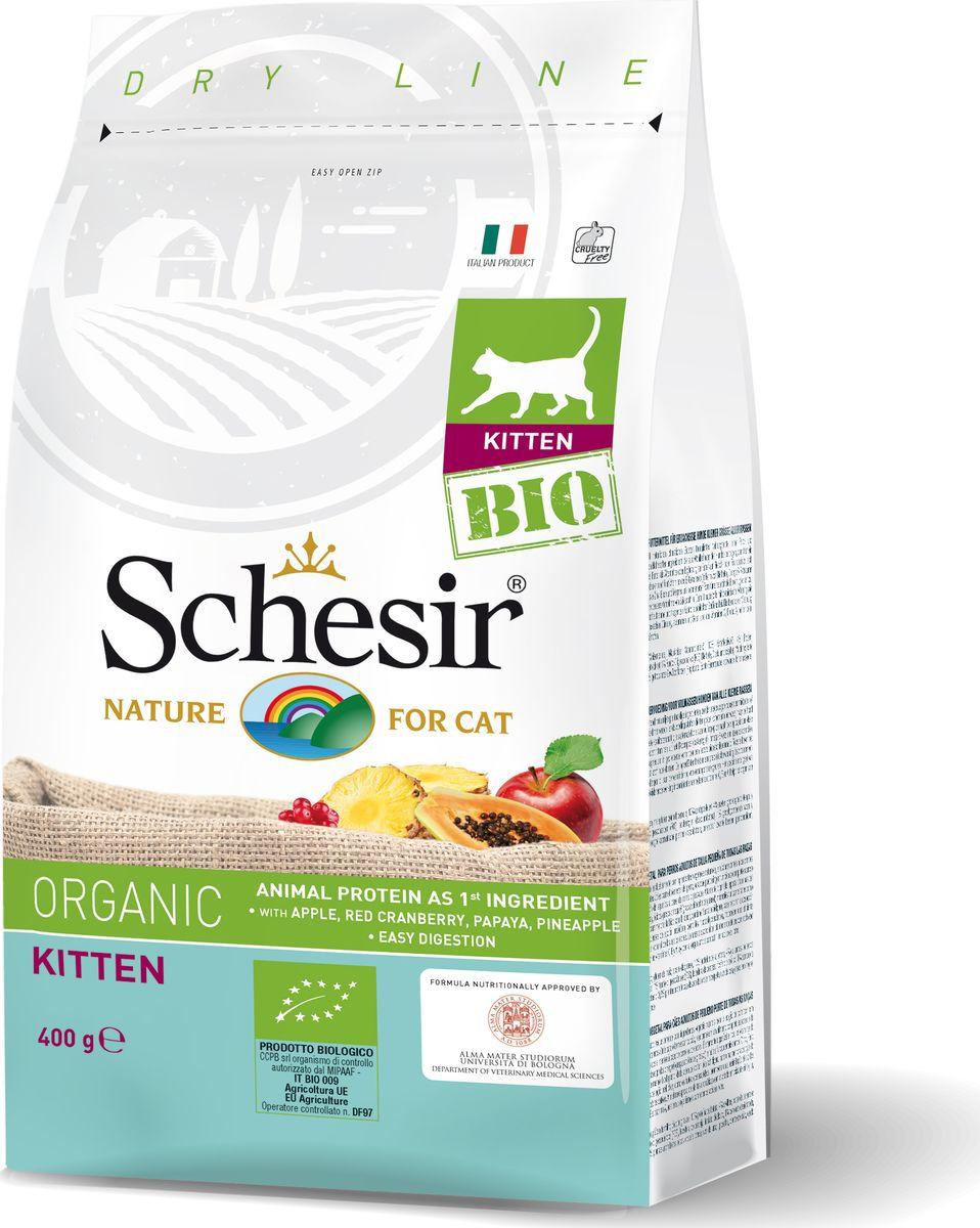 Корм сухой Schesir Bio, для котят, домашняя птица, 400 г корм сухой для котят hill s healthy development с тунцом 400 г